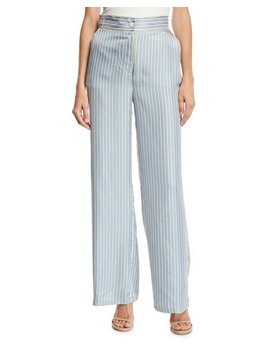 Ticking Striped Silk Twill Wide Leg Pants by Juicy Couture