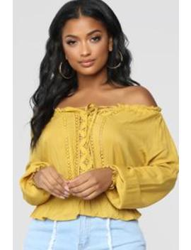 Uly Crochet Top   Mustard by Fashion Nova