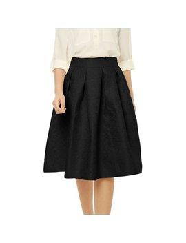 Women's Ol A Line Midi Skirts Black (Size M / 8) by Allegra K