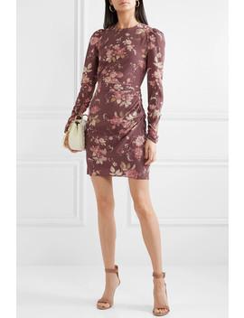 Draped Floral Print Silk Blend Crepe De Chine Mini Dress by Zimmermann