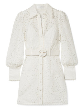 Belted Broderie Anglaise Cotton Mini Dress by Zimmermann