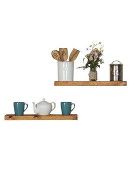 Del Hutson Designs Handmade Rustic Pine Wood (2 X 24 X 5.5 Inch) Floating Shelves, Walnut (Set Of 2) by Del Hutson Designs