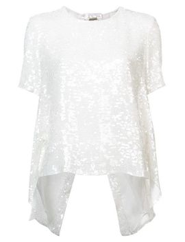 Women's White Embroidered Shift Blouse by Adam Lippes