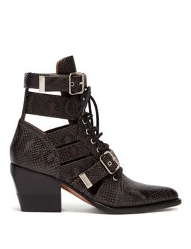 Rylee Cut Out Python Effect Leather Ankle Boots by Chloé