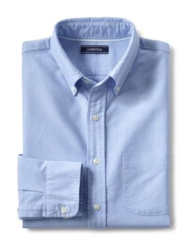 Men's Traditional Fit Buttondown Solid Sail Rigger Oxford Shirt by Lands' End