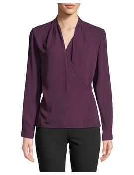 Draped Faux Wrap Chiffon Blouse by T Tahari