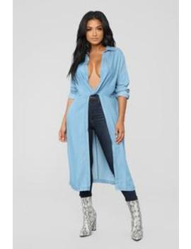 Don't Get It Twisted Tunic   Medium Blue Wash by Fashion Nova