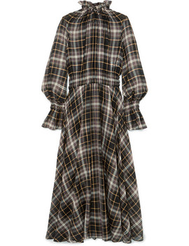 Shirred Checked Cotton And Silk Blend Maxi Dress by Beaufille