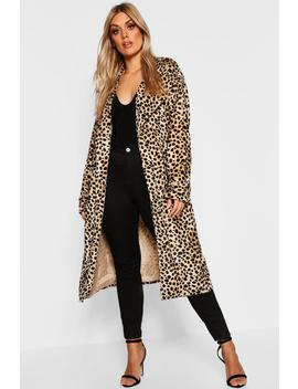 Plus Leopard Faux Fur Trench Coat by Boohoo