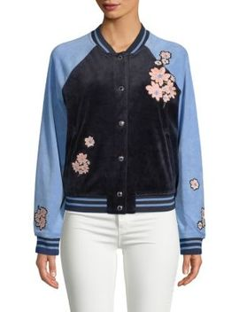 Floral Patch Velour Bomber Jacket by Juicy Couture Black Label