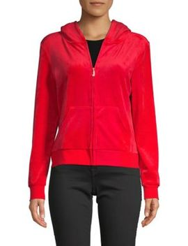 Zip Front Logo Hoodie by Juicy Couture