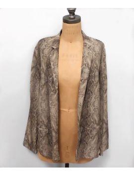 Aritzia Babaton Size 10 100 Percents Silk Snake Print Pattern Open Blazer Jacket by Aritzia