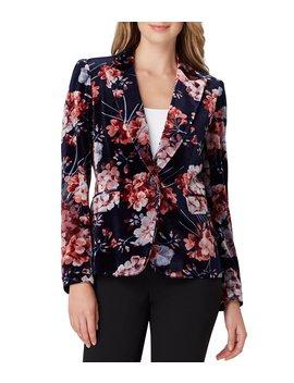 Floral Print Velvet One Button Jacket by Tahari Asl