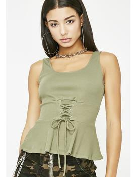 Olive I Am Her Corset Tank by Edgemine
