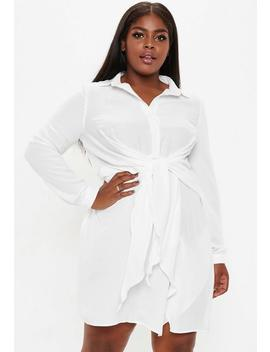 Plus Size White Tie Waist Shirt Dress by Missguided