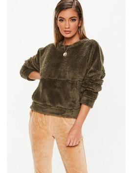 Khaki Teddy Pocket Front Sweatshirt by Missguided