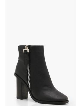Zip Pull Block Heel Shoe Boots by Boohoo
