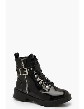 Patent Buckle Strap Cleated Hiker Boots by Boohoo