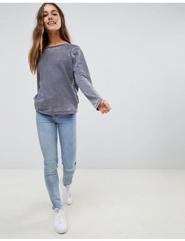 Asos Design Petite Sweatshirt With Twist Back In Washed Black by Asos Design