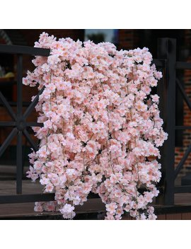 Set Of 2 Cherry Blossom Hanging Garlands Vine Silk Fake Wedding Party Decor Pink Or White by Etsy