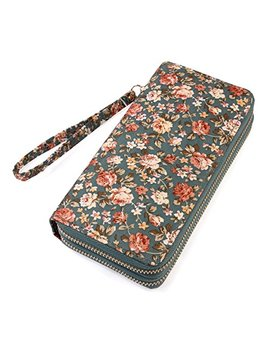 Lovely Floral Print Zip Around Wallet   Cute Flower Pattern Double Zipper Clutch Long Purse Card & Phone Wristlet Strap by Mys Collection