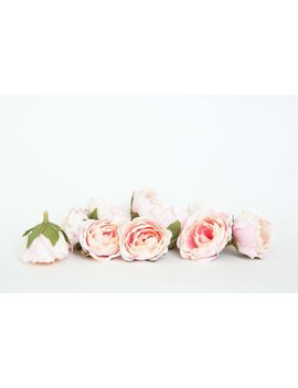 10 Mini Vintage Inspired Ruffled Roses In Pink And White   Small Sweetheart Artificial Roses   Item 01430 by Etsy