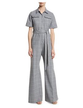 Short Sleeve Belted Windowpane Check Wide Leg Wool Blend Jumpsuit by Lela Rose