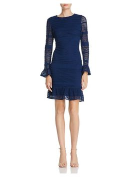 Knit Lace Bell Sleeve Dress by Adrianna Papell