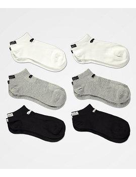 Puma 6 Pack Low Cut Black, Grey & White Socks by Puma