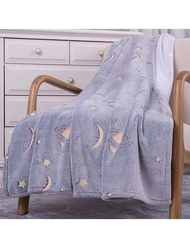 "Sochow Flannel Plush Throw Blanket 50"" × 60"", Star Moon Shining Pattern Blanket Glow In The Dark ,All Seasons Grey Blanket For Kids by Sochow"