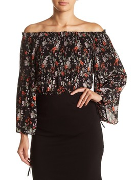 Floral Pleated Off The Shoulder Blouse by Max Studio