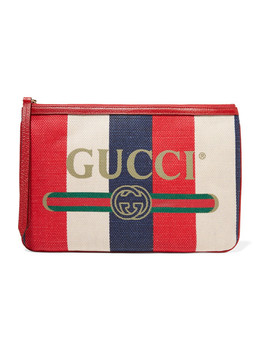 Printed Canvas And Leather Pouch by Gucci