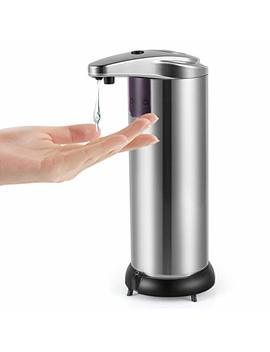 Cakie Soap Dispenser Infrared Motion Stainless Steel Touchless Automatic Shampoo Box With Waterproof Base & Ir Sensor For Kitchen, Bathroom, Hotel And Restaurant, Large, Silvery by Cakie