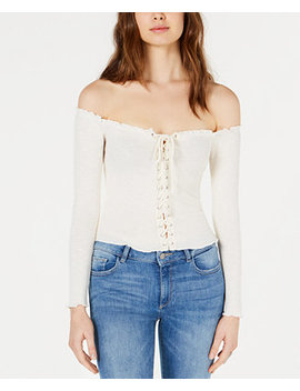 Off The Shoulder Lace Up Top by Project 28 Nyc