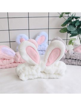 Cute Bunny Ear Makeup Headbands For Washing Face Shower Spa Mask Soft And Cute Rabbit Ear Hair Bands For Women And Girls Hb022 by Ali Express