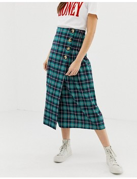 Glamorous Midi Skirt With Pleated Side In Check by Glamorous