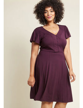 Recommended Ruffles Knit Dress In Purple by Modcloth
