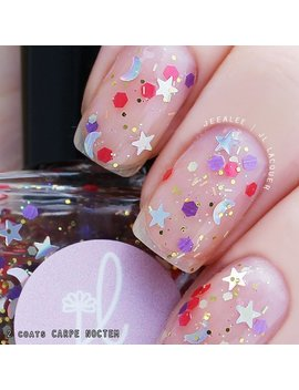 """Nail Polish   """"Carpe Noctem""""   Clear Glitter Topper With Holographic Star, Moon, Hex, Tinsel Glitter   Handmade Nail Polish, Indie by Etsy"""