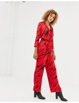 Only Zebra Print Wrap Jumpsuit by Only
