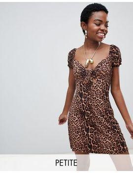 Glamorous Petite Tie Front Tea Dress In Leopard Print by Glamorous Petite