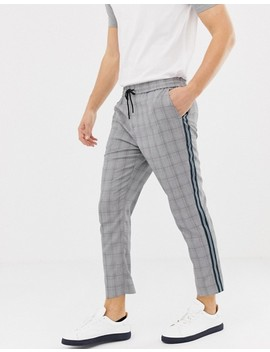 New Look Slim Fit Smart Joggers With Side Stripe In Gray Check by New Look