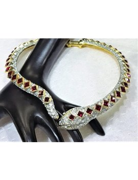 Gorgeous Kjl (Kenneth Jay Lane) Red And Clear Pave Rhinestone Snake Collar by Etsy