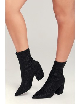 Trina Black Glitter Mid Calf Booties by Lulu's