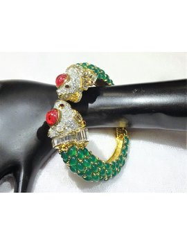 Reserved Vintage Kjl Emerald Green Cabochons And Clear And Red Rhinestones And Baguettes  Double Headed Koi Fish Hinged Bracelet by Etsy