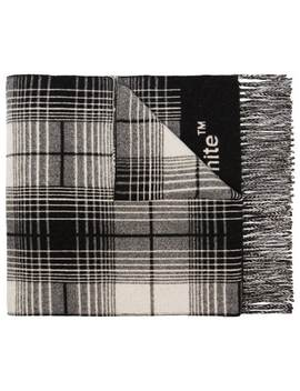 Grey, White And Black Check Logo Wool Scarf by Off White