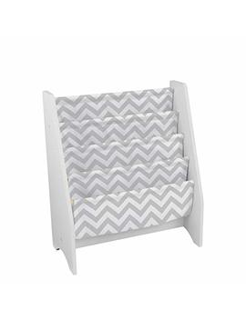 Kid Kraft Wooden Sling Bookcase   Gray & White  Sturdy Canvas Fabric, Chevron Pattern, Kids Bookshelf, Young Reader Support by Kid Kraft