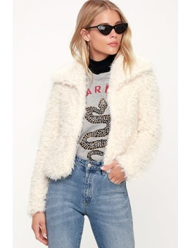 Fur Keeps Ivory Faux Fur Cropped Jacket by Billabong