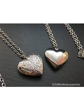 Simple Heart Shaped Silver Locket Necklace, Vintage Style Jewelry, Keepsake Gifts For Women by Etsy