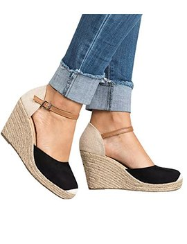 Pxmoda Womens Summer Espadrille Wedge Sandals Fashion Strap Buckle Suede Platform Shoes by Pxmoda