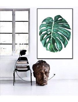 Large Print Monstera Leaf / Monstera Deliciosa Plant / Leaf Botanical Poster / Monstera Print / Botanical Painting / Monstera Leaf  Painting by Etsy